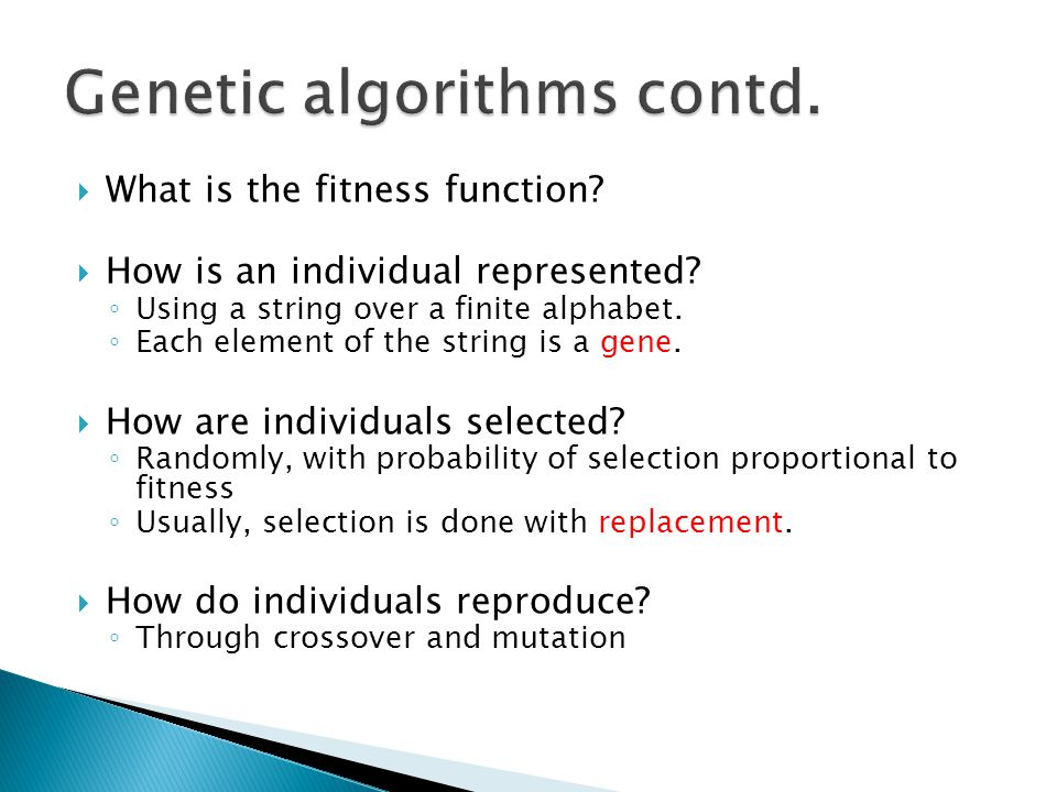 Genetic algorithms contd.