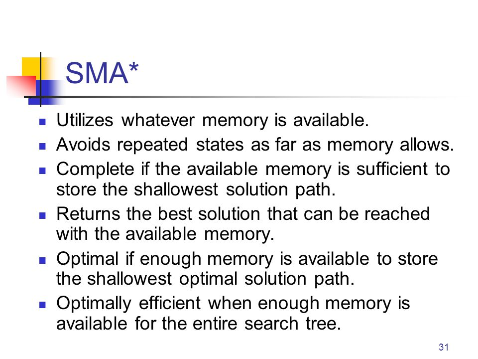 SMA* Utilizes whatever memory is available.