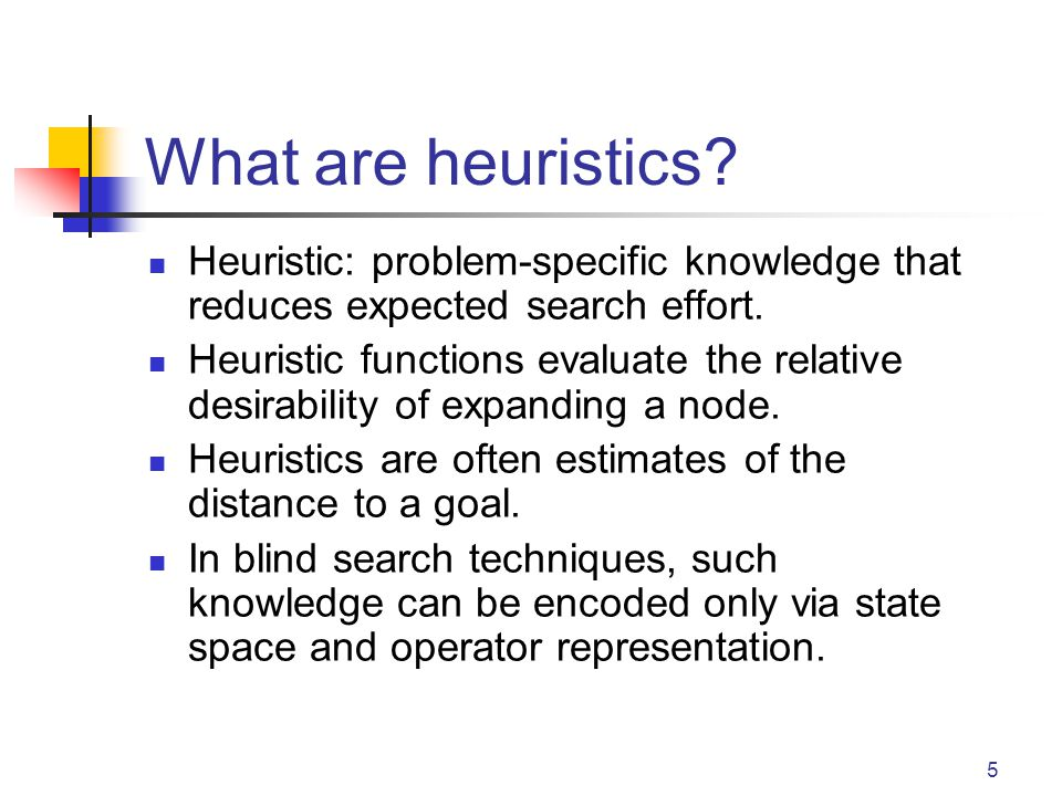 What are heuristics Heuristic: problem-specific knowledge that reduces expected search effort.