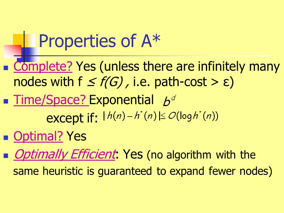 Properties of A* Complete Yes (unless there are infinitely many nodes with f ≤ f(G) , i.e. path-cost > ε)