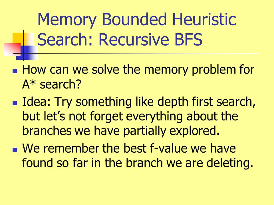 Memory Bounded Heuristic Search: Recursive BFS