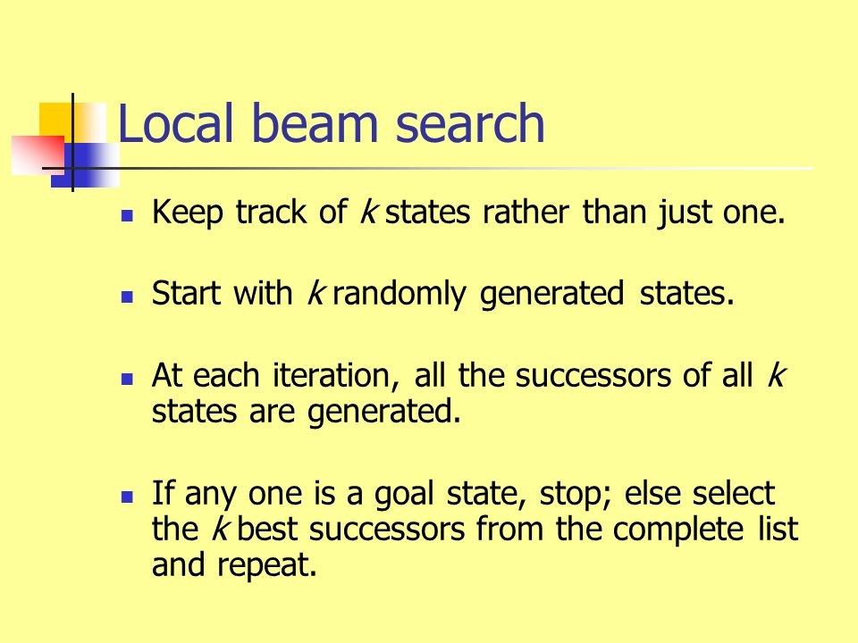 Local beam search Keep track of k states rather than just one.