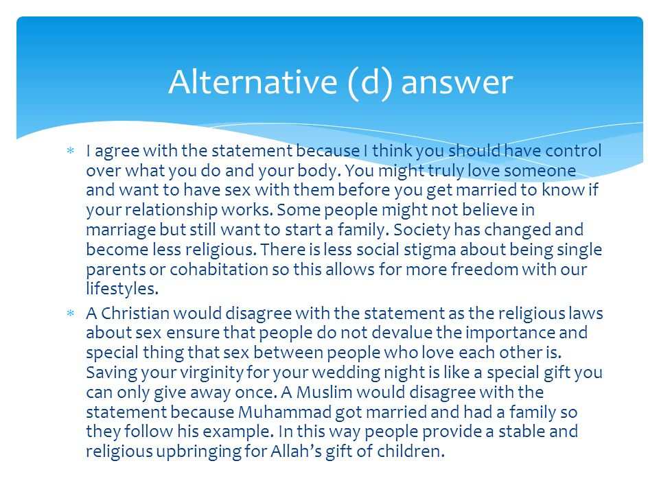 Alternative (d) answer