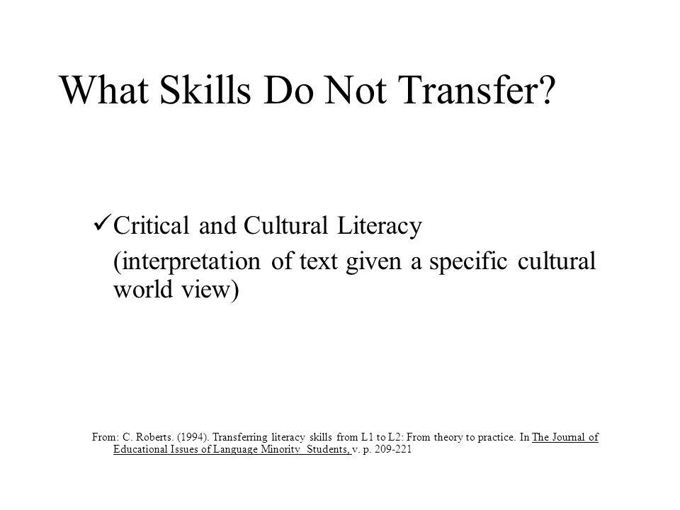 What Skills Do Not Transfer