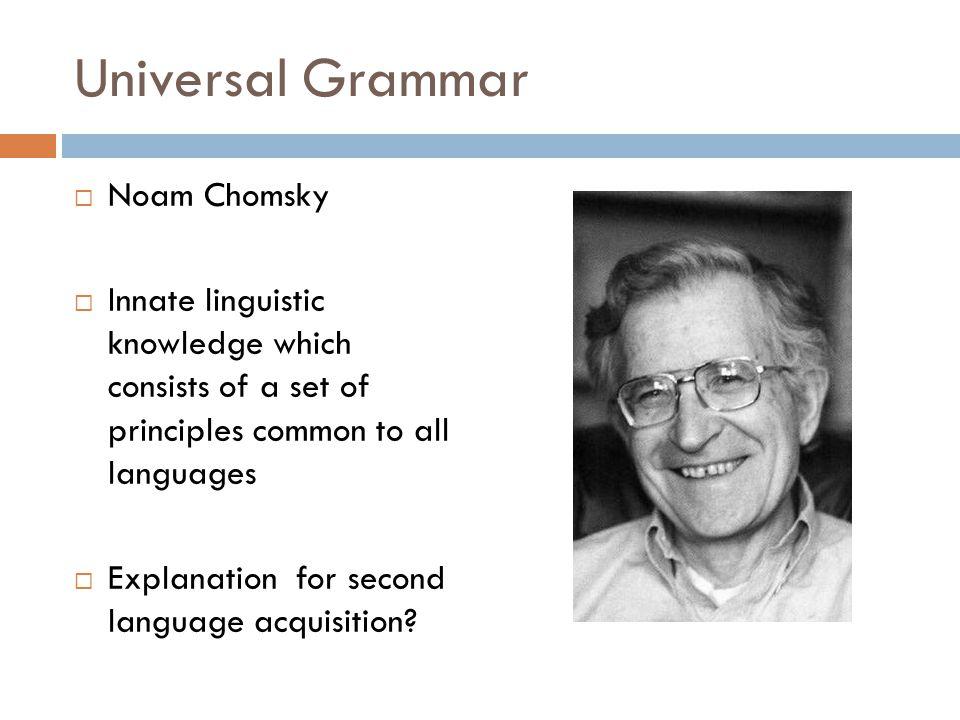 Universal Grammar Noam Chomsky