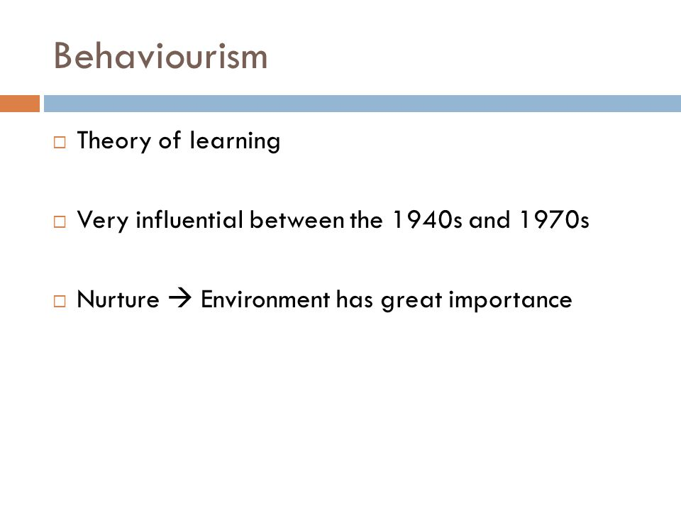 Behaviourism Theory of learning