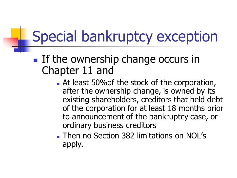 Special bankruptcy exception