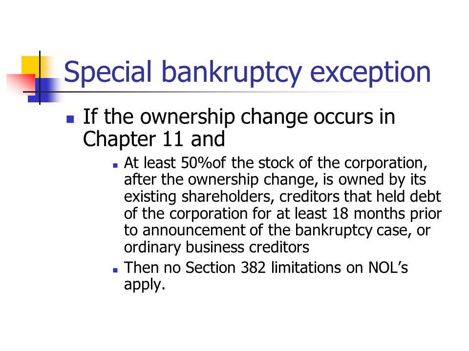 Special bankruptcy exception