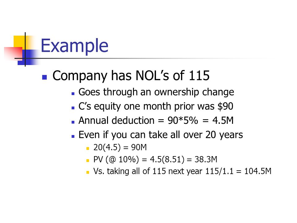 Example Company has NOL's of 115 Goes through an ownership change