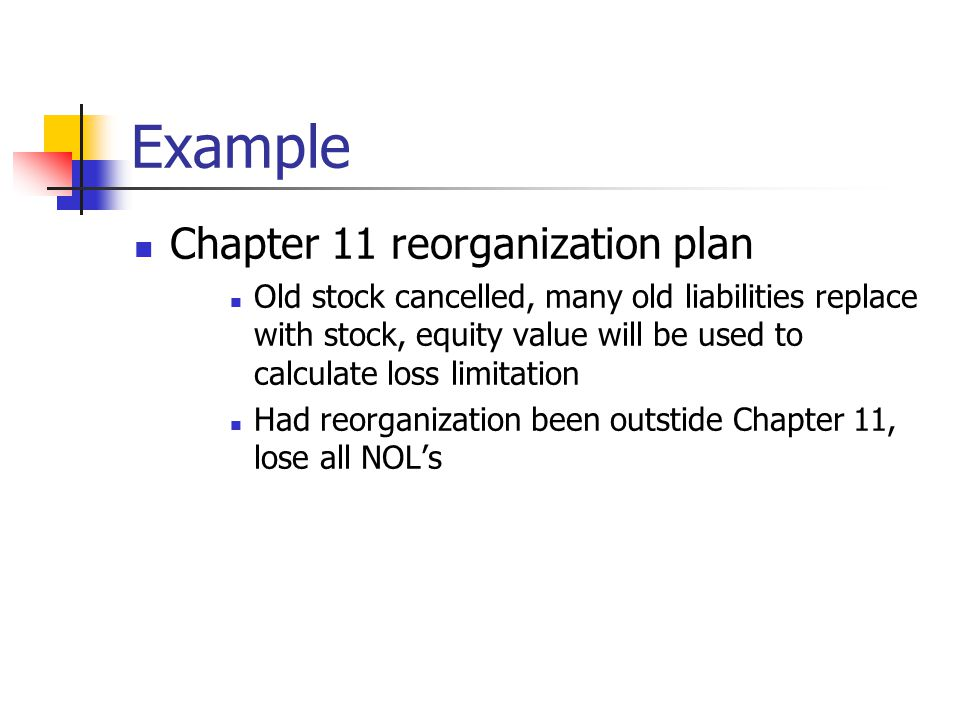 Example Chapter 11 reorganization plan