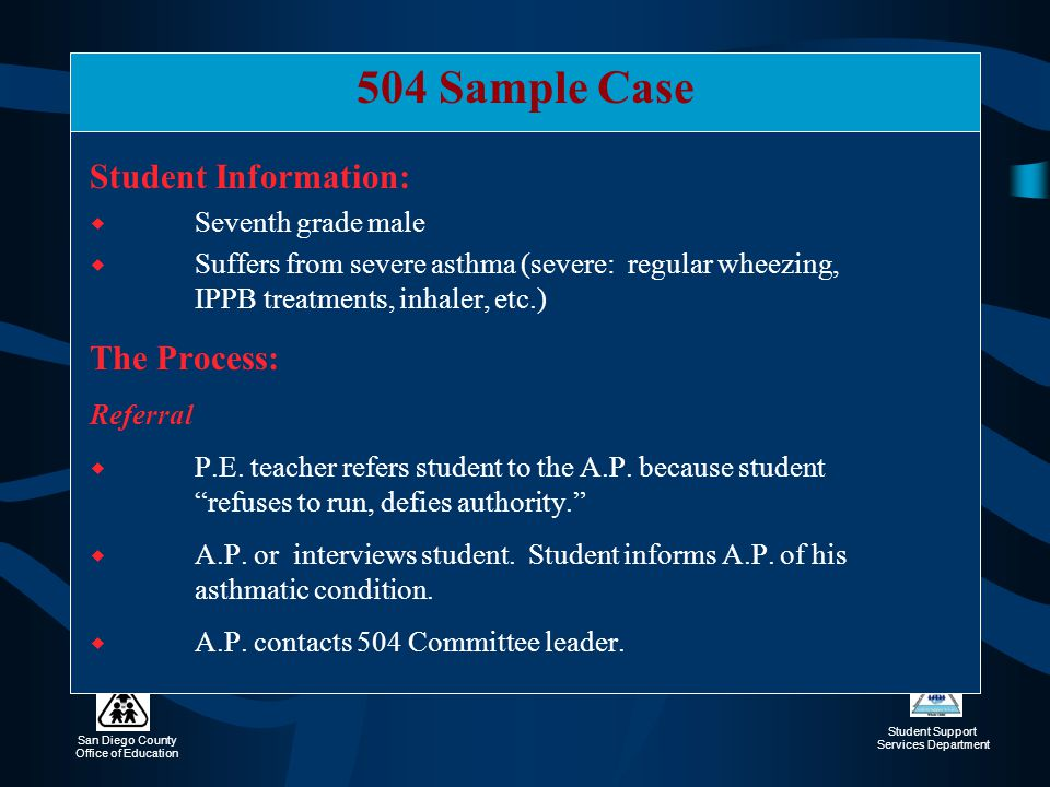 504 Sample Case Student Information: The Process: Seventh grade male