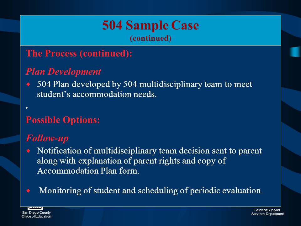 504 Sample Case The Process (continued): Plan Development