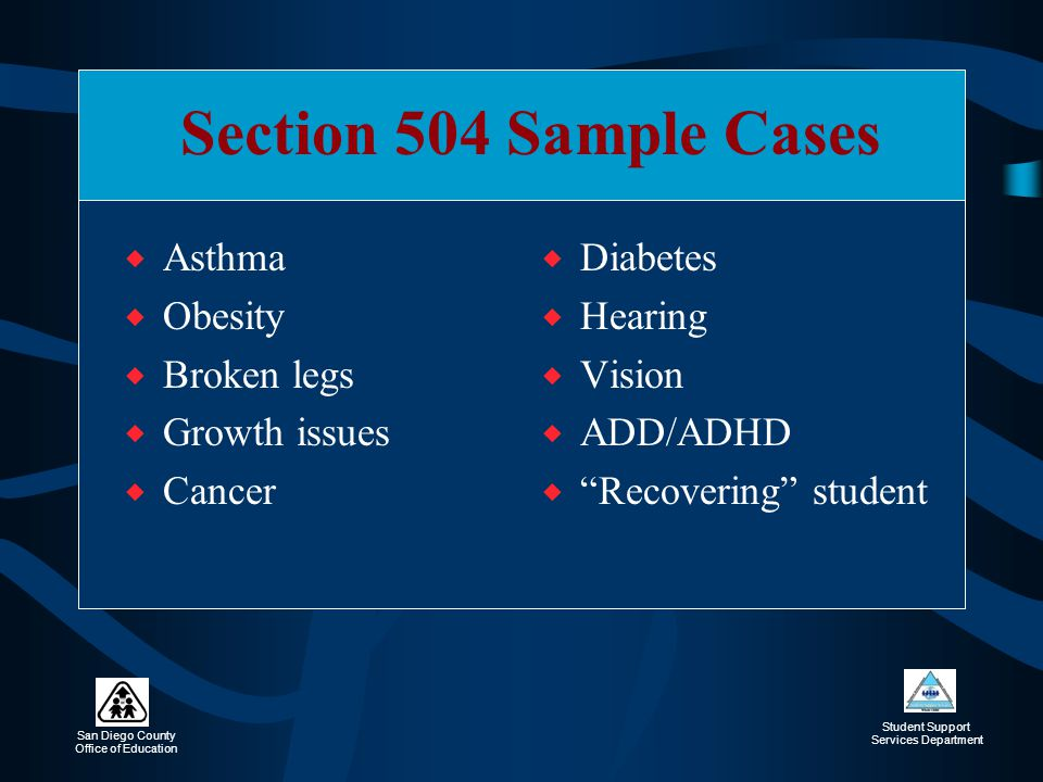 Section 504 Sample Cases Asthma Obesity Broken legs Growth issues