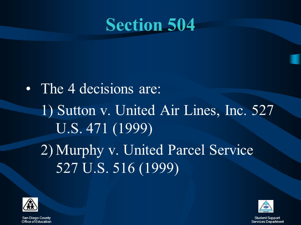 Section 504 The 4 decisions are: