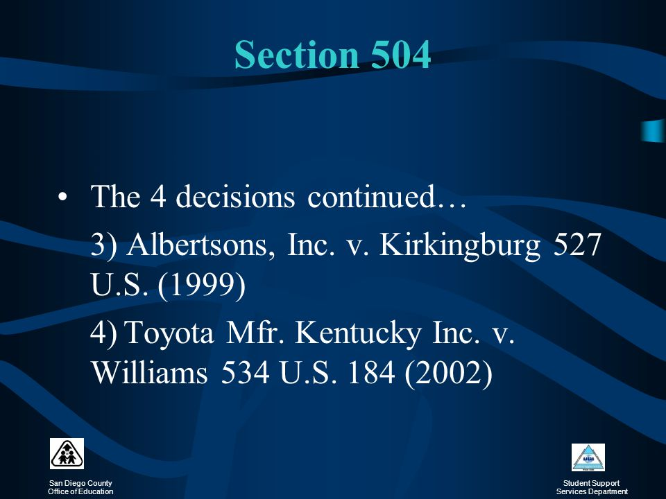 Section 504 The 4 decisions continued…