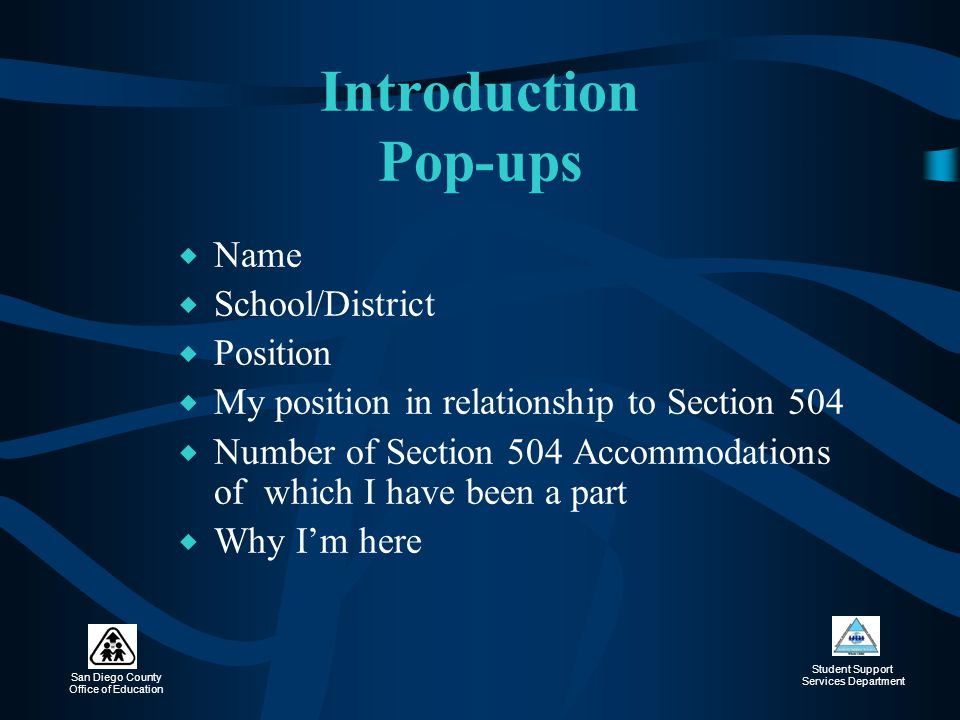 Introduction Pop-ups Name School/District Position
