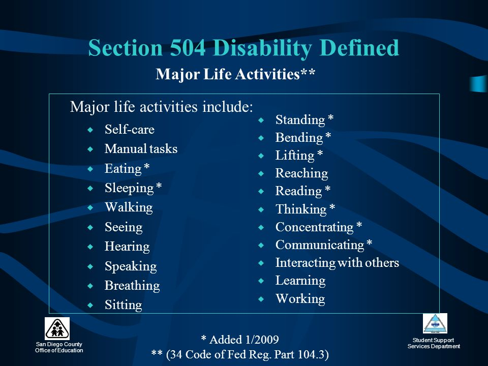 Section 504 Disability Defined