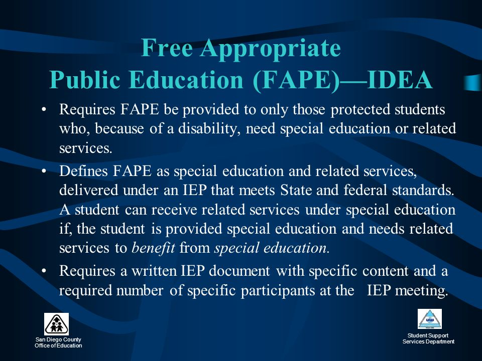 Free Appropriate Public Education (FAPE)—IDEA
