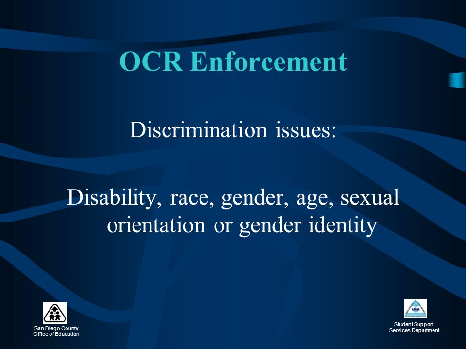 OCR Enforcement Discrimination issues: