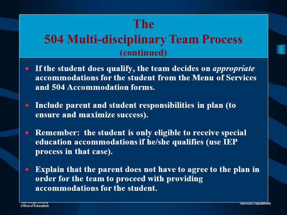 The 504 Multi-disciplinary Team Process