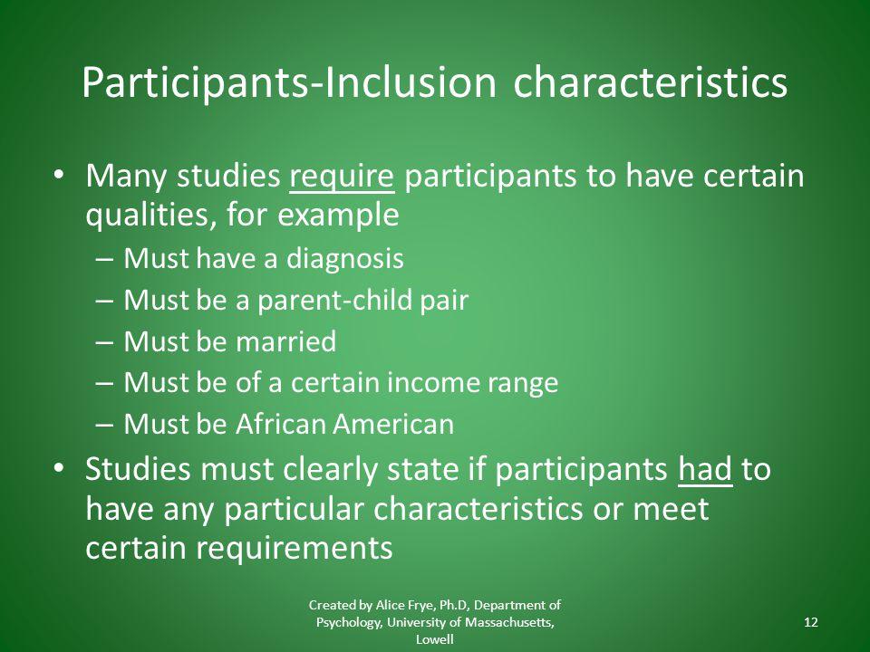 Participants-Inclusion characteristics