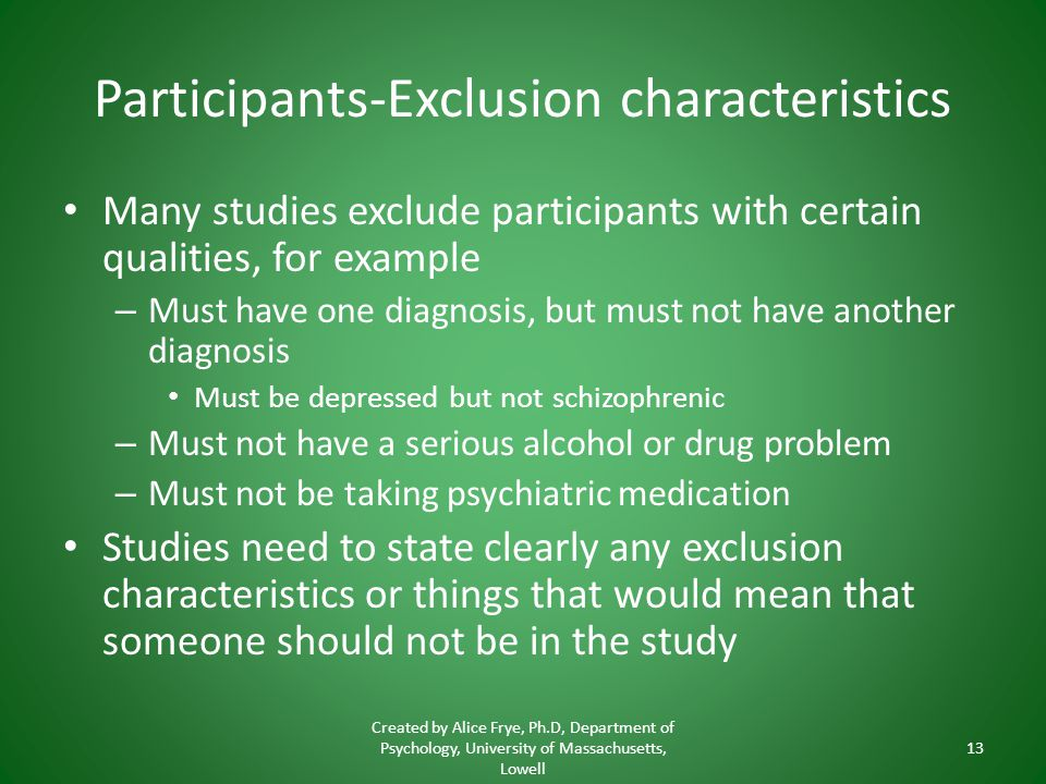 Participants-Exclusion characteristics