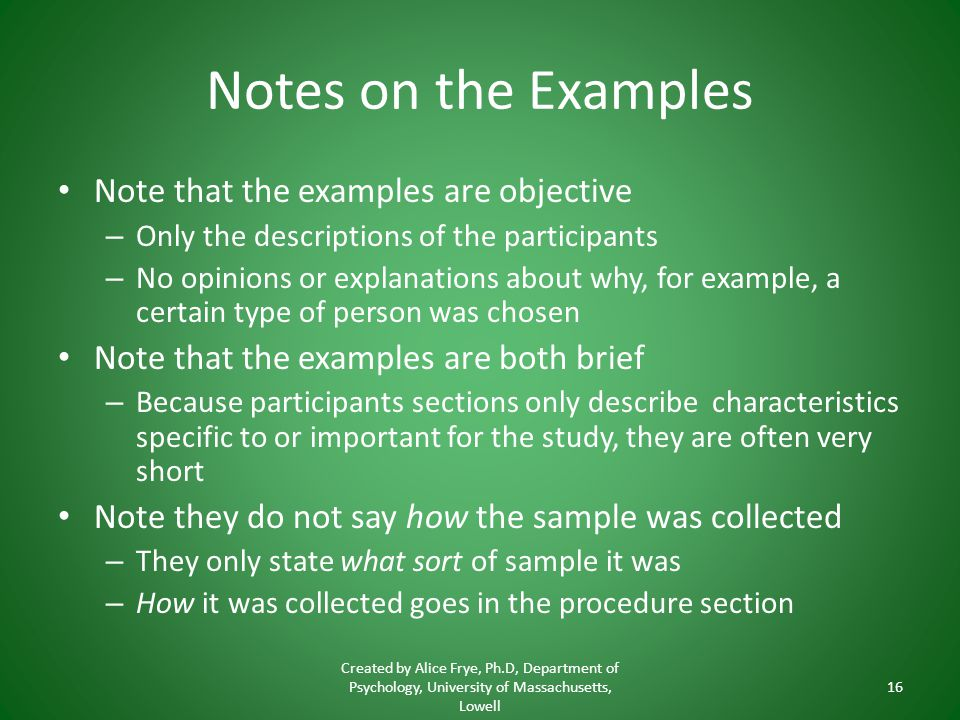 Notes on the Examples Note that the examples are objective