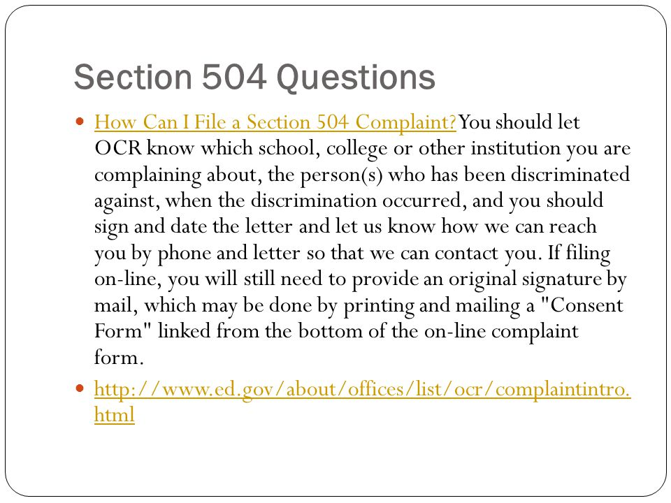 Section 504 Questions