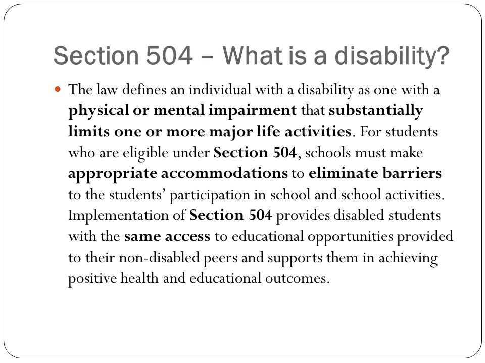 Section 504 – What is a disability