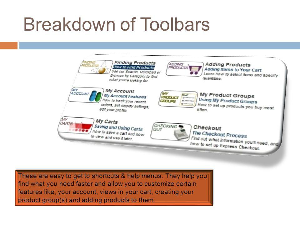 Breakdown of Toolbars