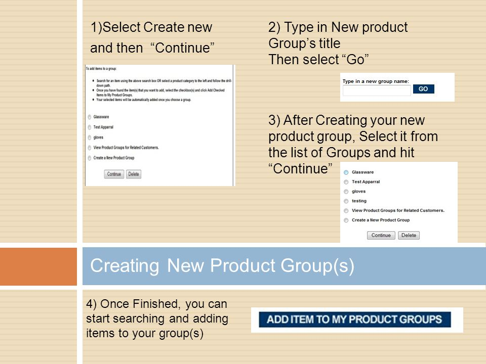 Creating New Product Group(s)