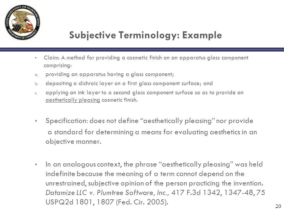 Subjective Terminology: Example