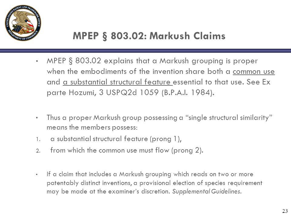 MPEP § 803.02: Markush Claims