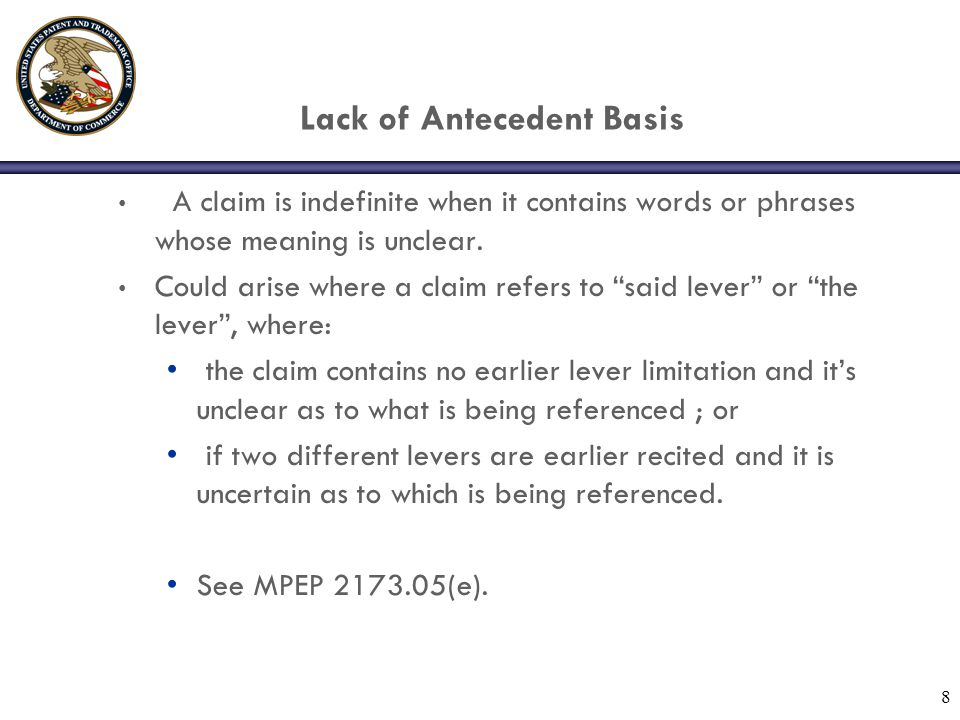 Lack of Antecedent Basis