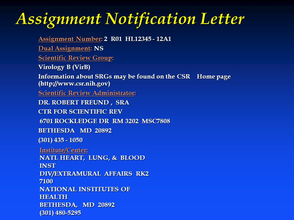 Assignment Notification Letter