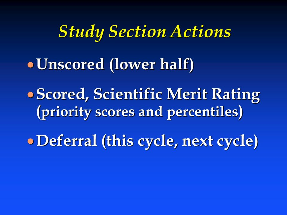 Study Section Actions Unscored (lower half)