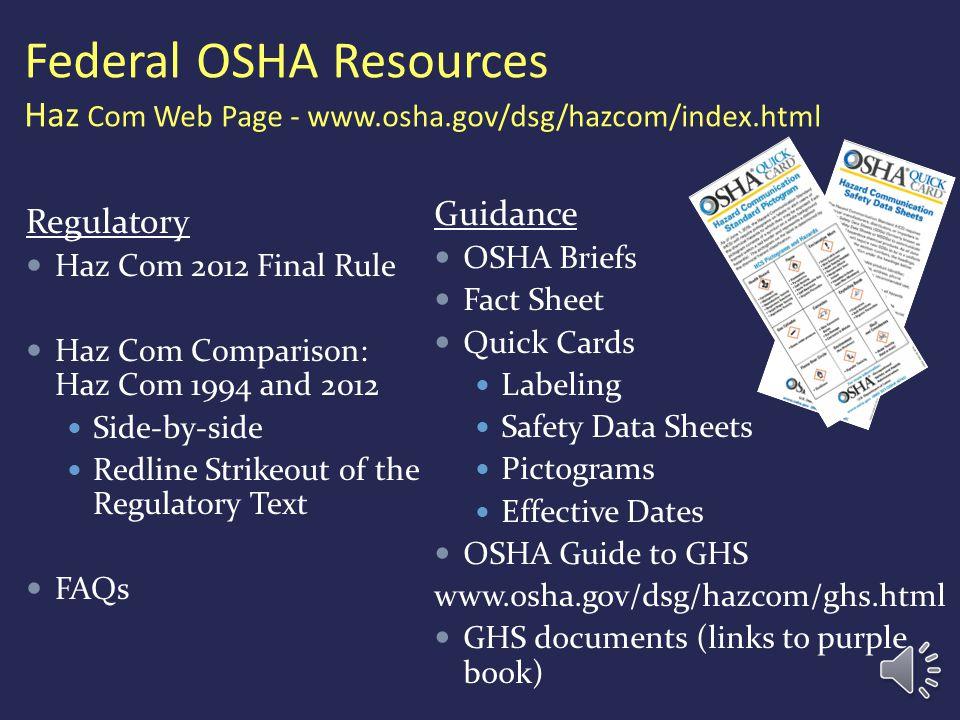 Federal OSHA Resources Haz Com Web Page - www. osha