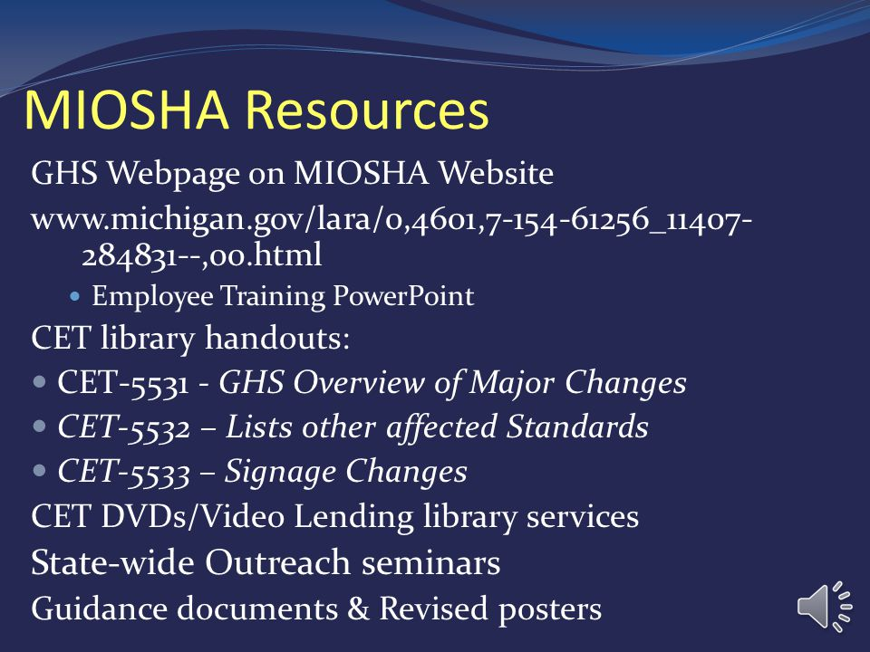 MIOSHA Resources State-wide Outreach seminars