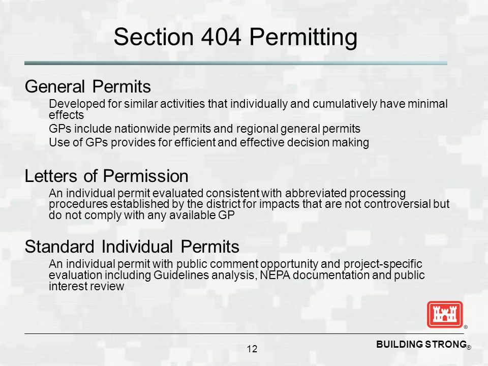 Section 404 Permitting General Permits Letters of Permission