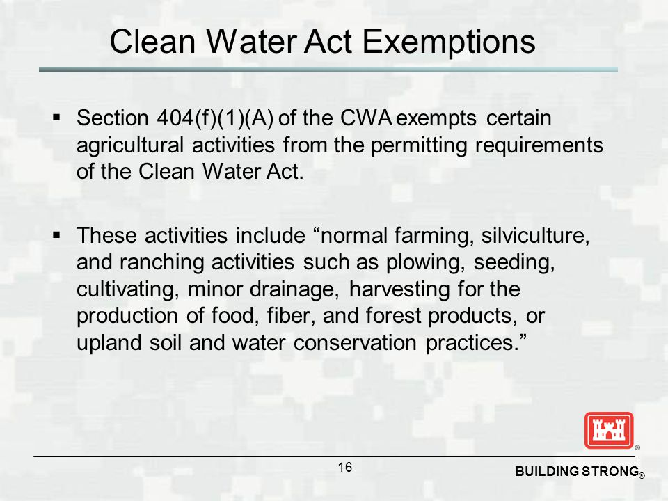Clean Water Act Exemptions