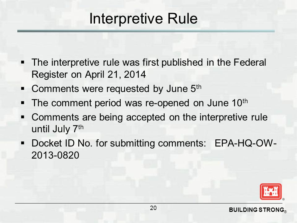 Interpretive Rule The interpretive rule was first published in the Federal Register on April 21, 2014.