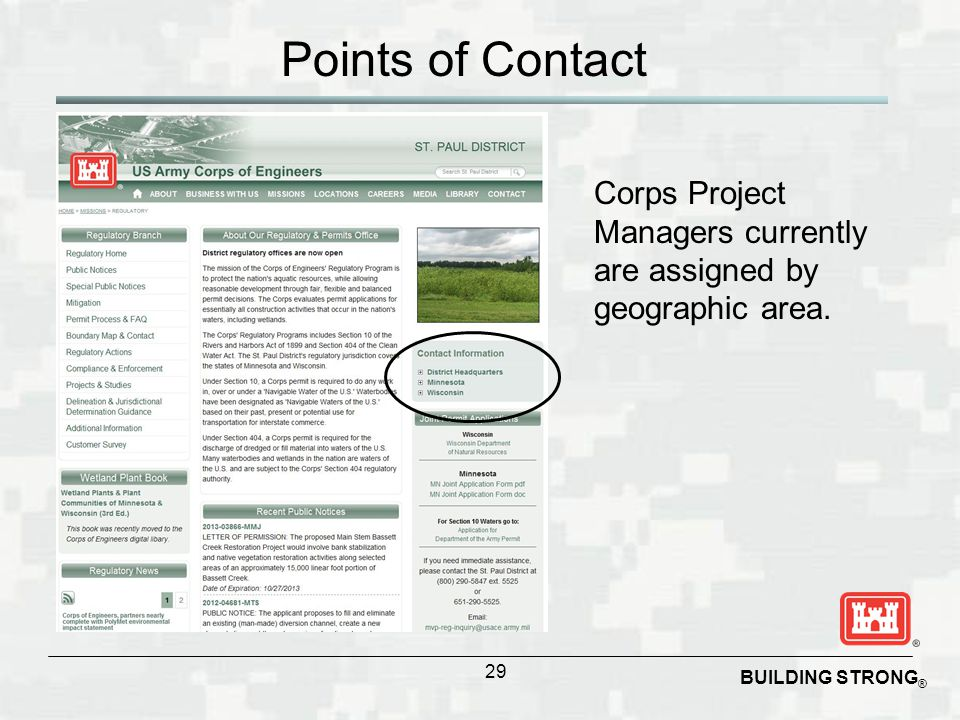 Points of Contact Corps Project Managers currently are assigned by geographic area.