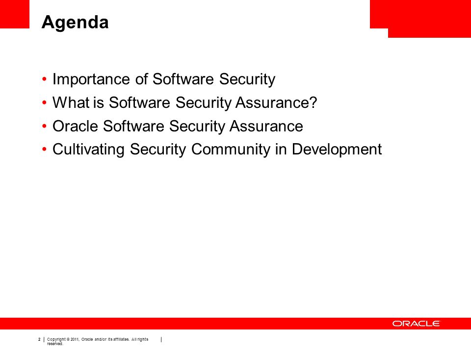Agenda Importance of Software Security