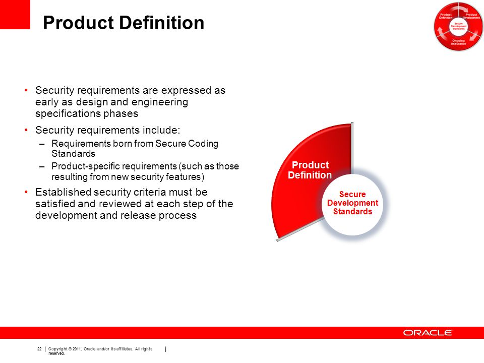 Product Definition Security requirements are expressed as early as design and engineering specifications phases.
