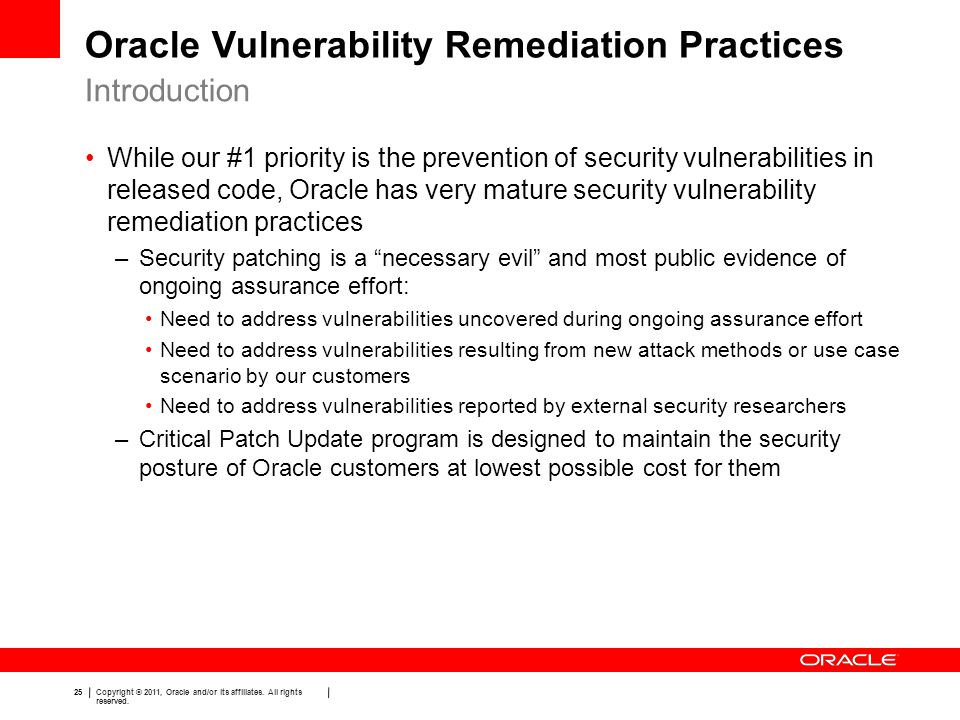 Oracle Vulnerability Remediation Practices