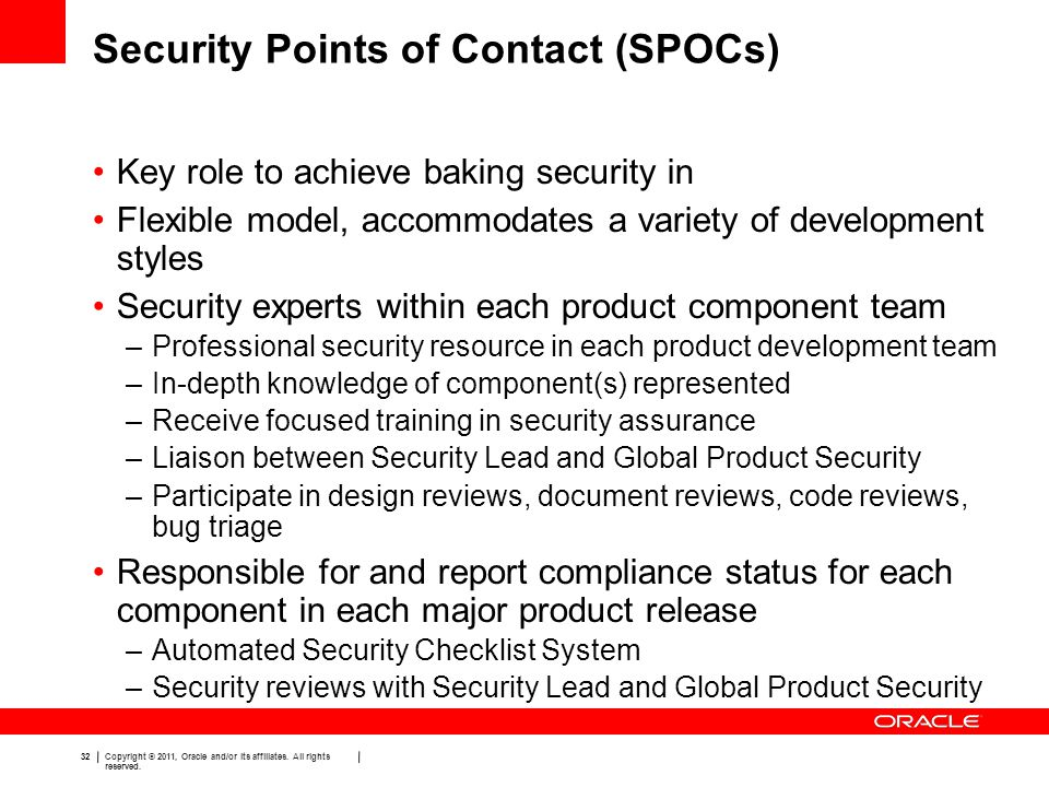 Security Points of Contact (SPOCs)