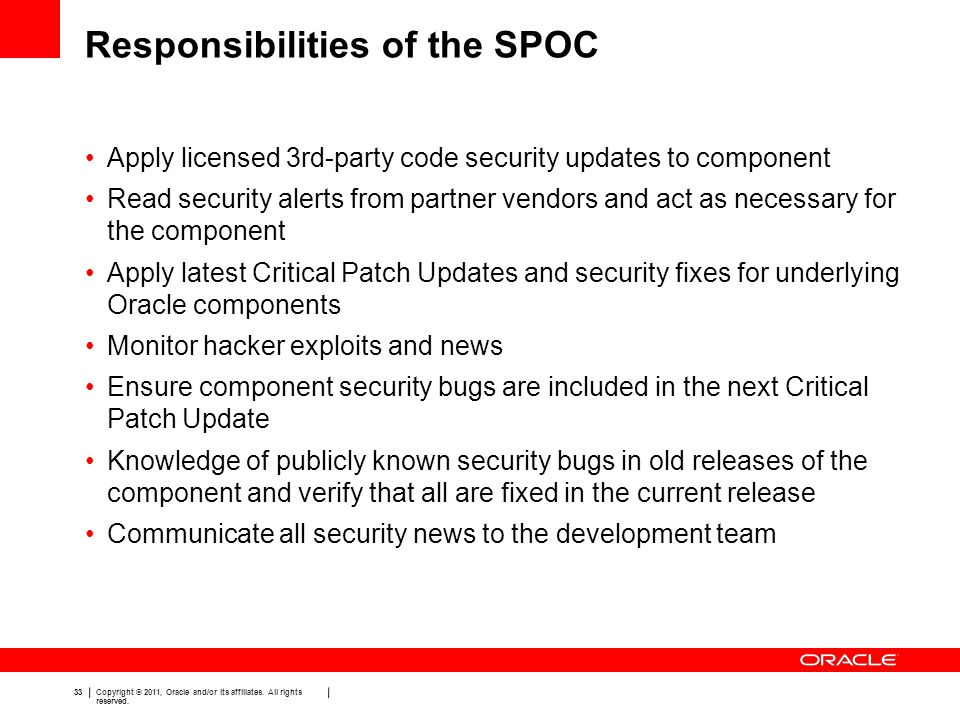 Responsibilities of the SPOC