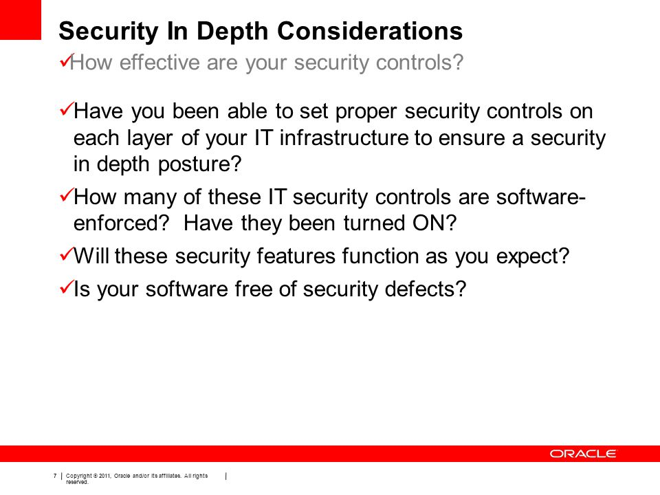 Security In Depth Considerations