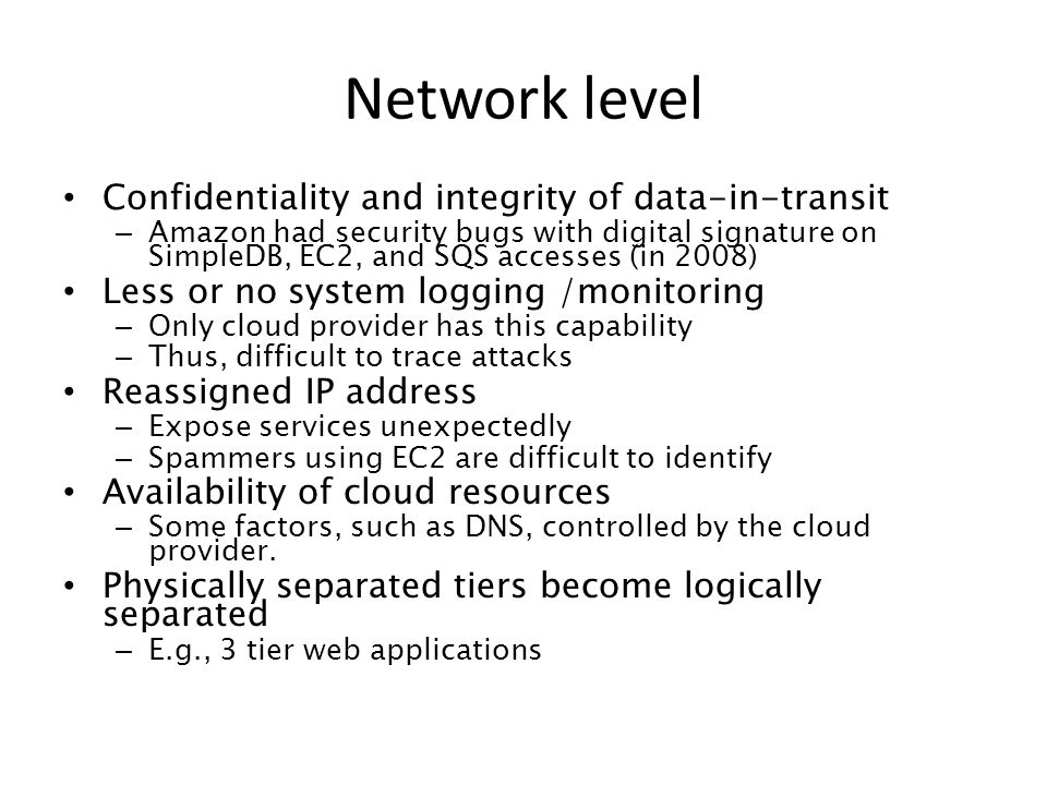 Network level Confidentiality and integrity of data-in-transit