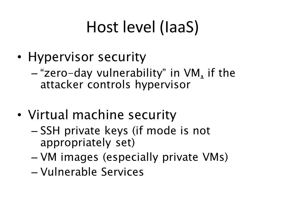 Host level (IaaS) Hypervisor security Virtual machine security